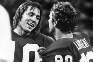 Seattle QB #10 Jim Zorn and WR #80 Steve Largent during a home game